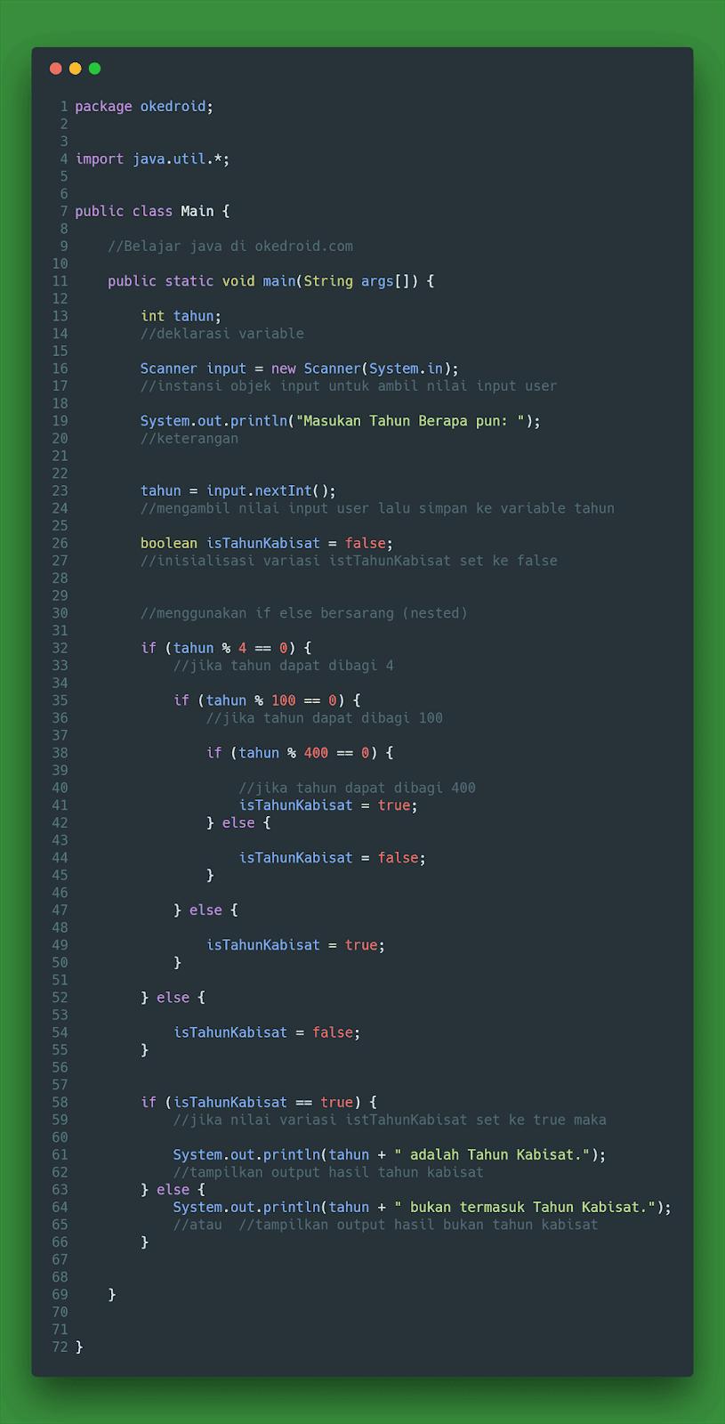Contoh Code Menghitung Menentukan Tahun Kabisat di Program Java
