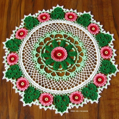 Roses and Shamrocks Doily - Classic Irish Crochet in Color by RSS Designs In Fiber
