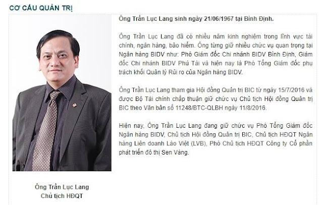 Thông tin về ông Trần Lục Lang được giới thiệu trên website của Bảo hiểm BIDV