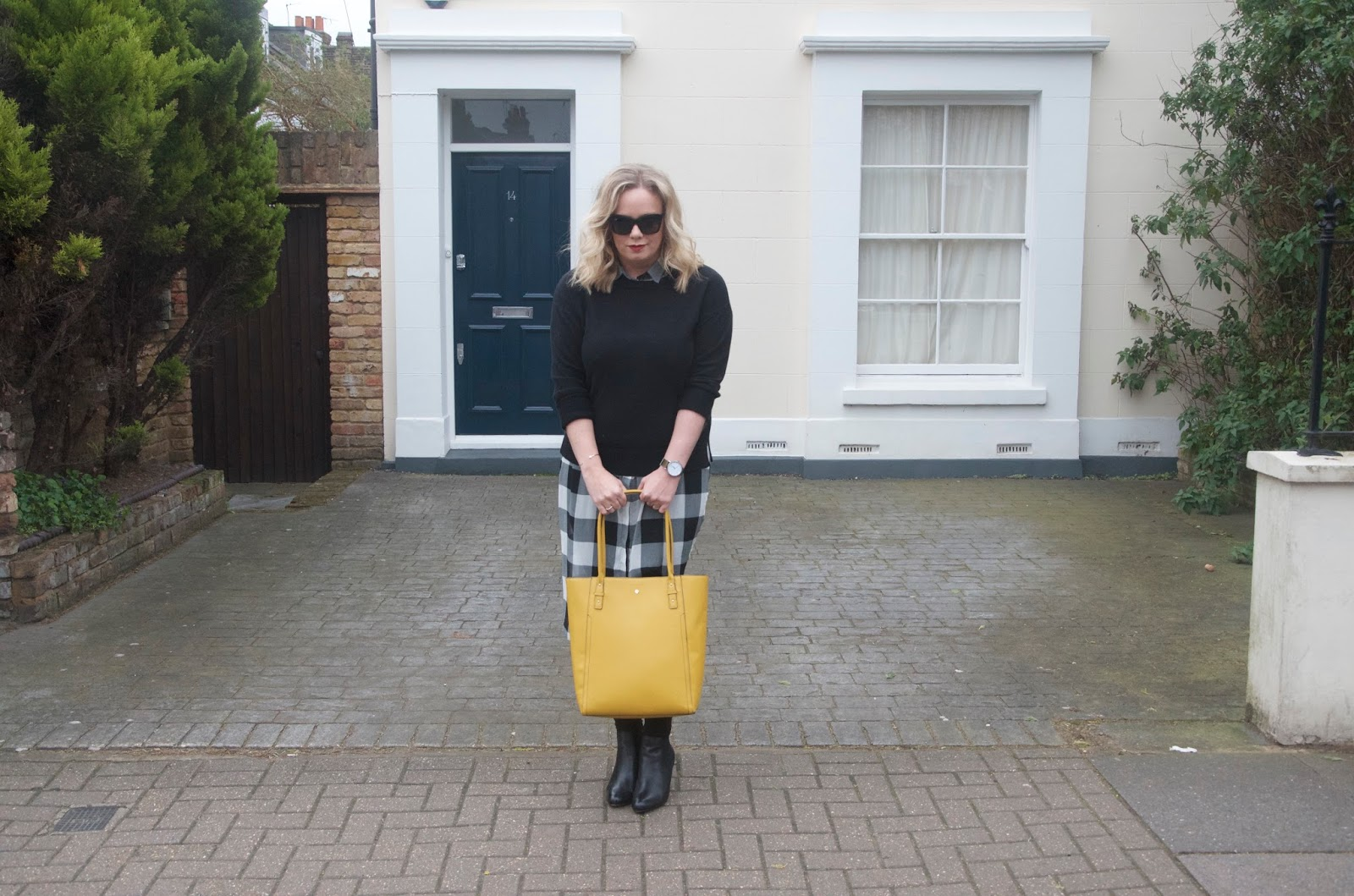 gingham dress, black sweater, mustard bag