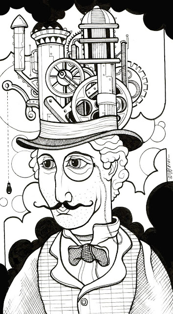 "© Lon Bennett 2010 - 2017 All Rights Reserved. - The Black Ink Series - Drawing 6  ""Professor Steam"""