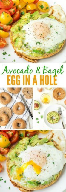 Bagel Egg in a Hole with Smashed Avocado