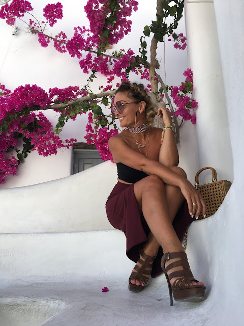 YSL sandals, Crop top, Pencil skirt, Mykonos, blogger style in Mykonos, what to wear in your 30s, how to wear crop to in 30s, toronto fashion blogger, best fashion blogger influencer, travel to mykonose