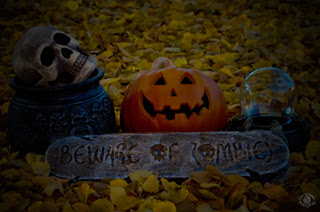 Cramer Imaging's professionally photographed Halloween theme with cauldron, skull, jack-o-lantern, crystal ball, zombie sign, and fall leaves in Pocatello, Bannock, Idaho