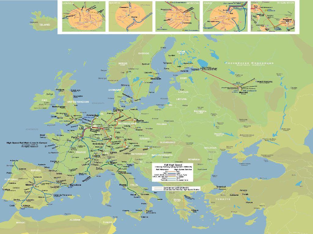 high speed train map europe