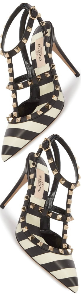 Valentino Garavani Rockstud V.Stripes Leather 100mm Pump