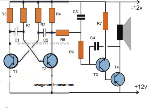 2 tone siren circuit using transistors only
