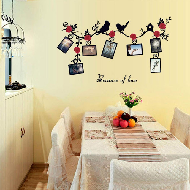 Quaanti Tree Birds Flower Vine Wall Decal DIY Removable Art Photo Memory Frame