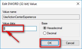 Nhập giá trị là 0 vào ô Value data