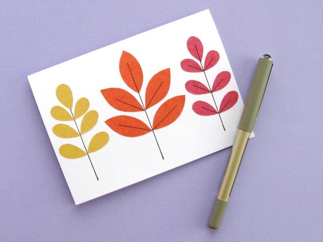 autumn leaf card tutorial finishing the leaves