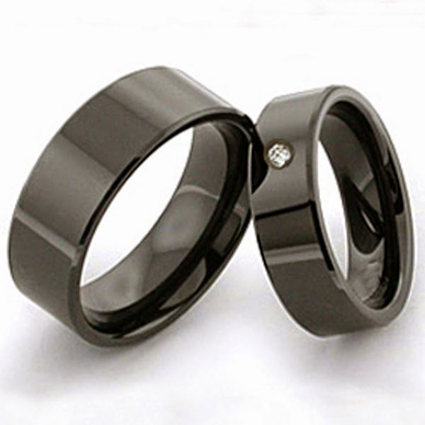 Native American Inspired Black Zirconium Wedding Rings Spirit Sunset