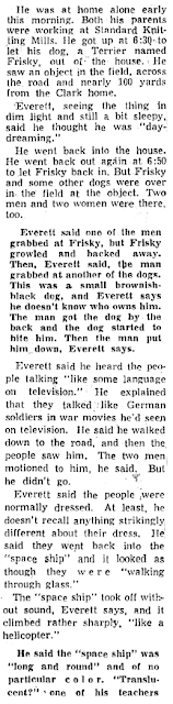 Boy Sees Space Ship in Dante Pasture (2) - Knoxville New Sentinel 11-6-1957