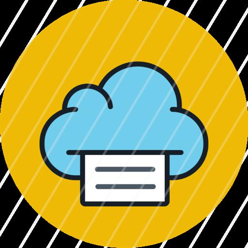 cloud data file files print storage icon