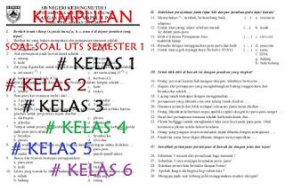 soal uts sd kelas 1/2/3/4/5/6 kurikulum 2013