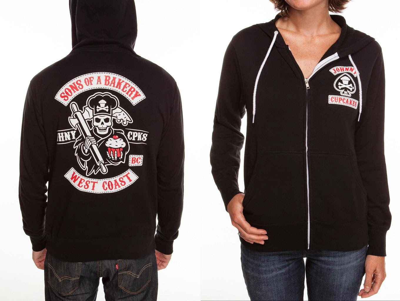 "fca005b1e ""Sons of a Bakery"" Sons of Anarchy West Coast Hoodie by Johnny Cupcakes"