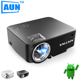 VALLKIN 2 in 1 LED Projector 3D + TV BOX Built-in Android 4.4 MINI Projector 1500 Lumens Syne Screen with Phone Smart Beamer AM200S