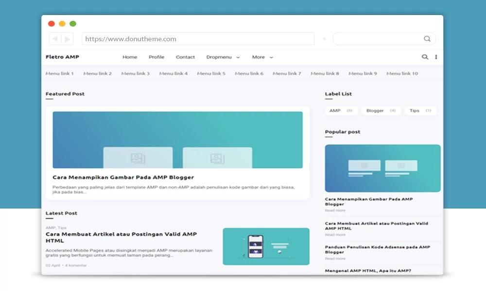 Fletro AMP Responsive Blogger Template
