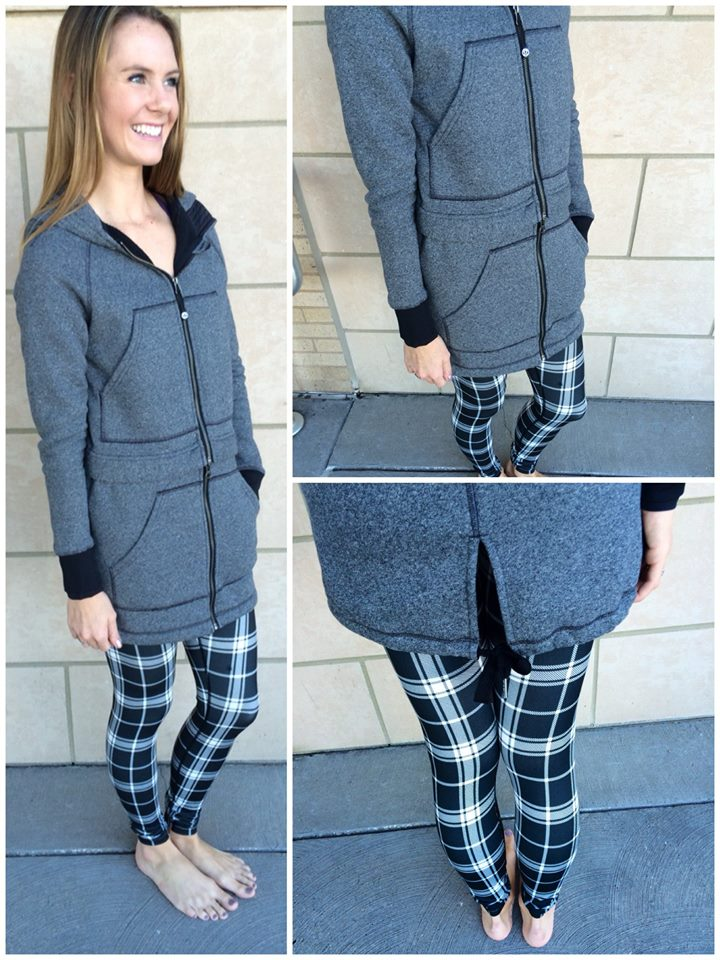 lululemon long and short of it jacket varsity-plaid-wunder-under pant