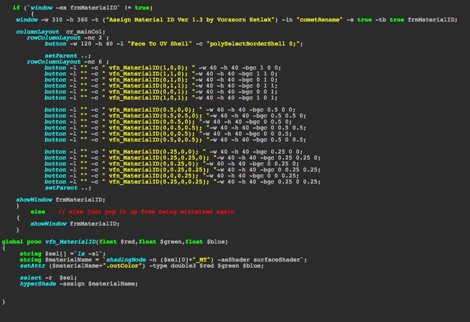 Autodesk Maya Programming: Material ID (Mel Script)