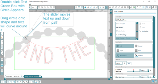 How to hang letters from a curve in Silhouette Studio - Text to Curve