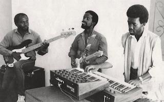 Popular Zamrock band 'Witch' recording in a studio in Rhodesia. 1980.
