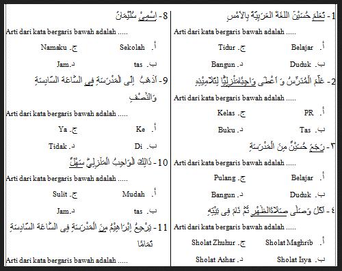 Kisi Kisi Soal Bahasa Arab Mi Kelas 1 2 3 4 5 6 Semester 1 Uas 2016 2017 Download