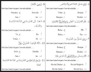 Kisi Kisi Soal Bahasa Arab Mi Kelas 1,2,3,4,5,6 Semester 1 (UAS 2016/ 2017)