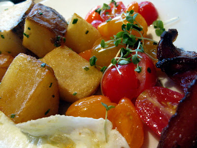 Crispy Potatoes and Tomato Salad at Market by Jean-Georges in Boston, MA - Photo by Taste As You Go