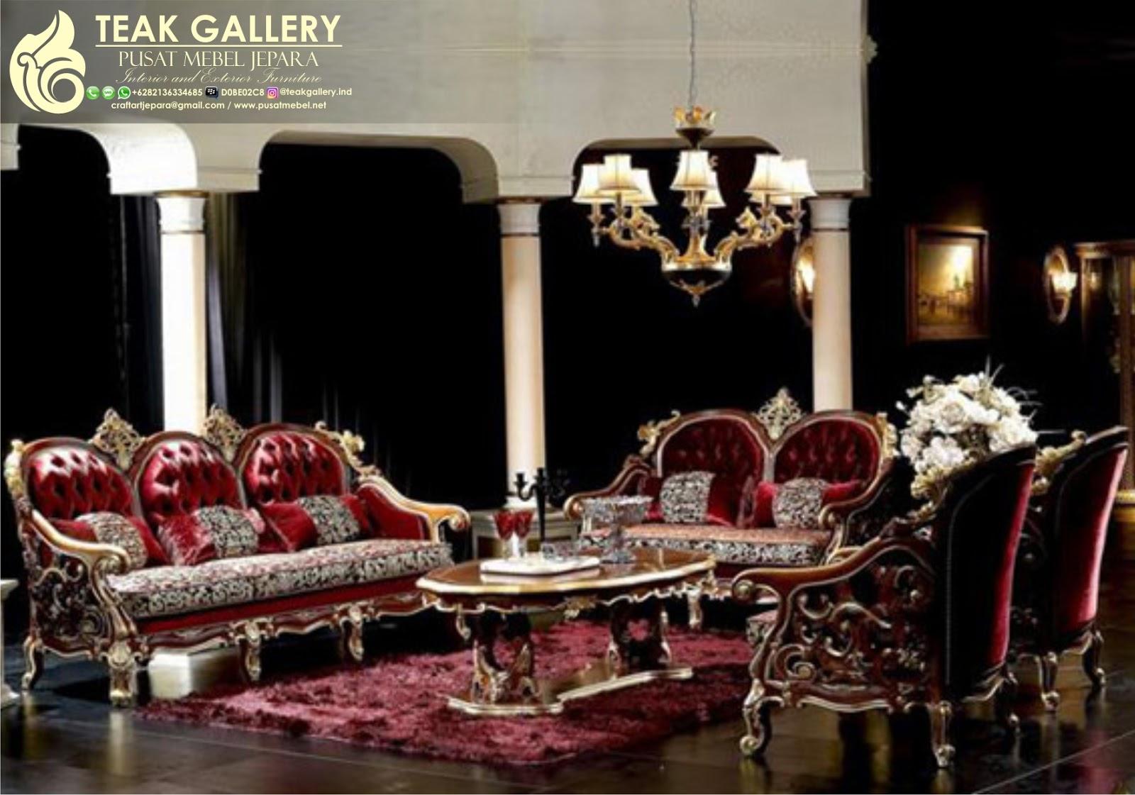 Teak Gallery Jepara Set Sofa Tamu Classic Italian Metallic Red