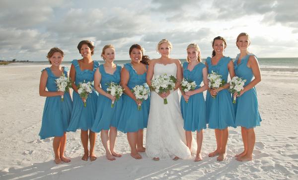 Blue Bridesmaids In Flowy Dresses Beach Wedding