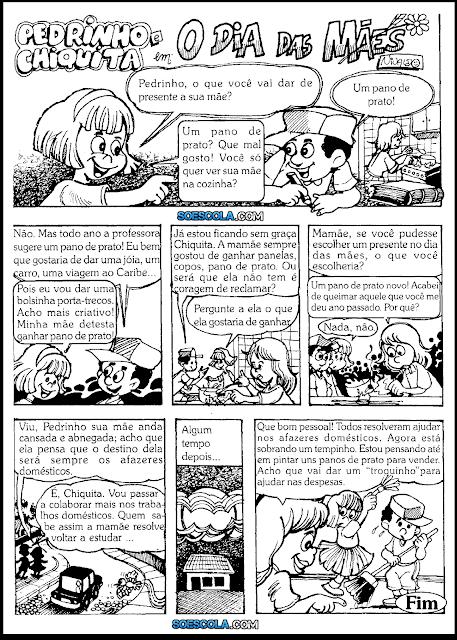 História em quadrinhos para o Dia das Mães