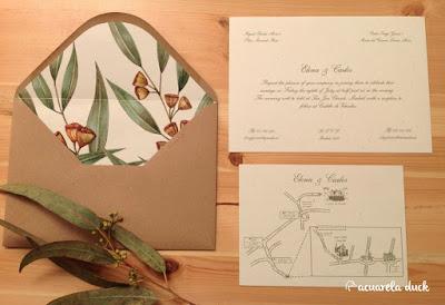 Invitación boda eucalipto