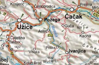ivanjica mapa srbije Ивањица | Географија за гимназије ivanjica mapa srbije