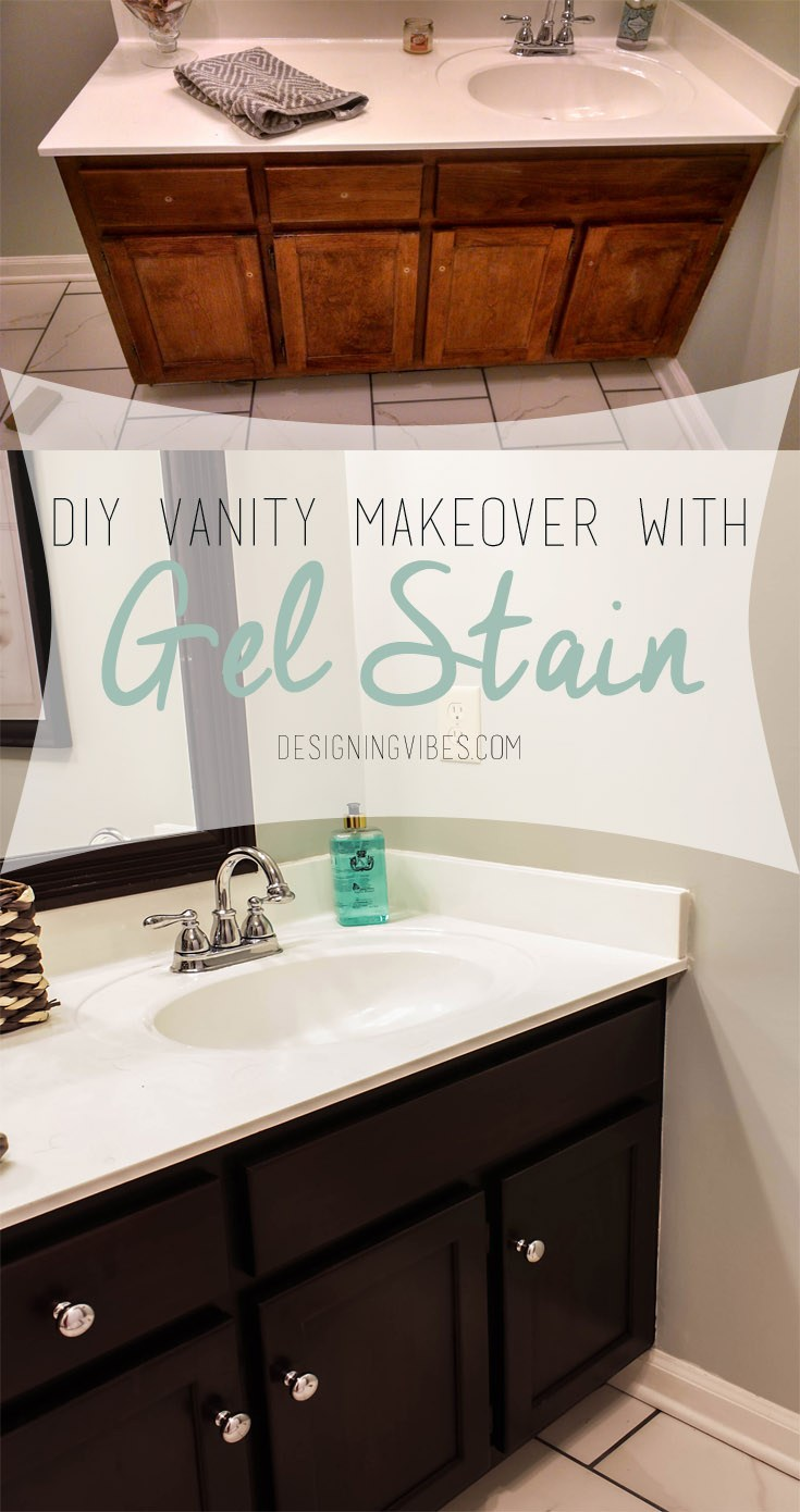 Stunning I used gel stain on the cabinets in my last home hall bathroom and it was gorgeous Not sure if that would be too much like the floors or not