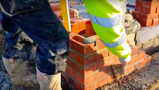 Bricklaying - screengrab taken from a You Tube video