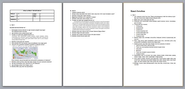 Contoh Soal UTS Kelas 5 Kurikulum 2013 Semester 1 dan 2