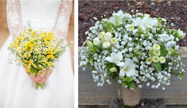 White button matricaria bouquets