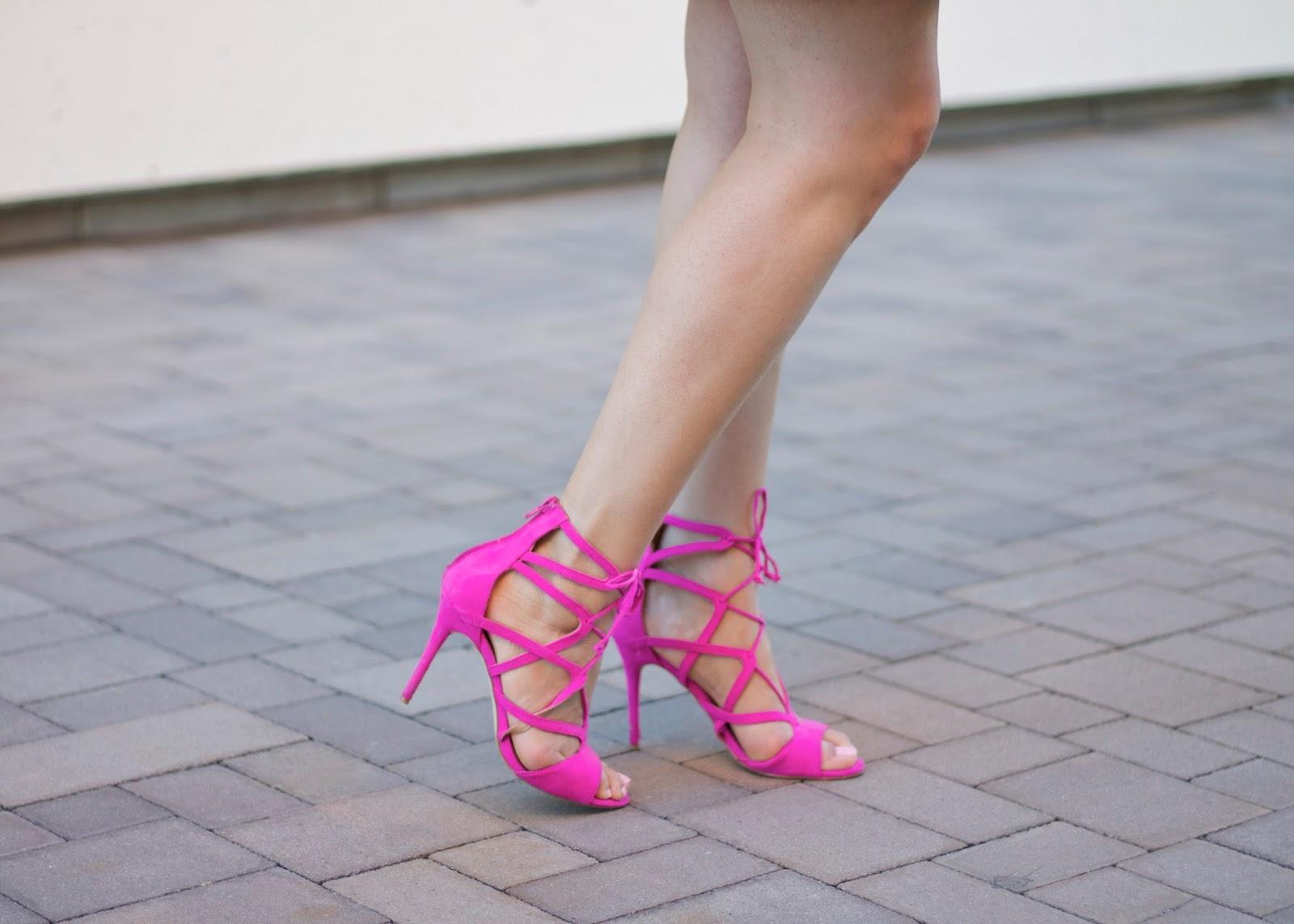 hot pink heels, affordable heels, justfab online blogger, bring shoes 2016, spring shoes 2016