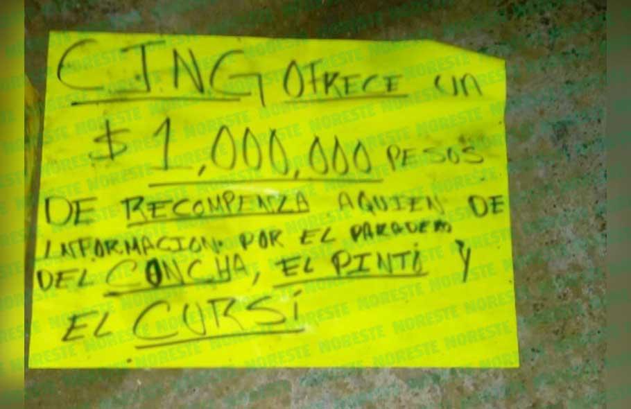 """Ofrece CJNG 1 mdp por informes sobre el paradero de """"El Cursi"""""""