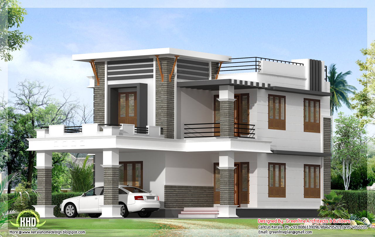 1800 flat roof home design kerala home design and for Best architecture home design in india