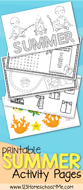 FREE Summer Kids Activity Sheets - looking for some no prep, free printable activity sheets for kids? LOVE these - so many choices and great for vacation, road trips, printing before out to dinner, etc. for preschool, kindergarten, first grade, 2nd grade, 3rd grade
