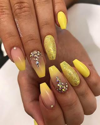 Yellow Acrylic Nail Design