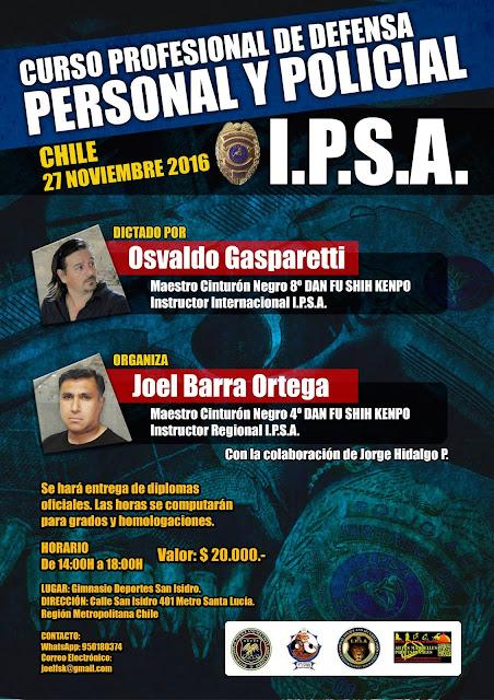 Curso Profesional de Defensa Personal y Policial IPSA en Chile