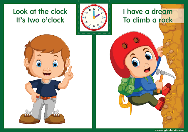 Telling the time worksheet - two o'clock on the clock - printable ESL resources