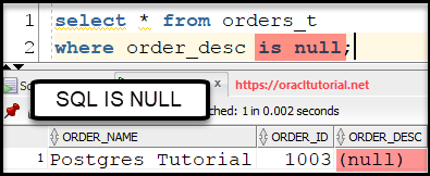SQL IS NULL operator usage in where clause to deal with sql null values by SQL Tutorial