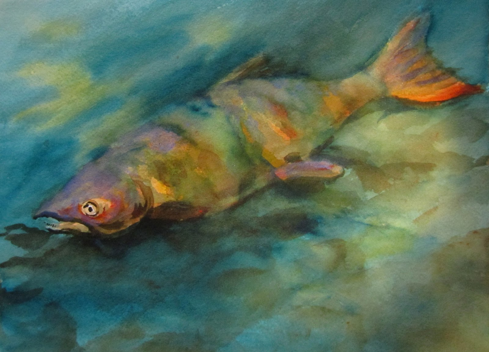 Chinook Salmon in Watercolor #Watercolor #KDAllegriArtClass #Arches
