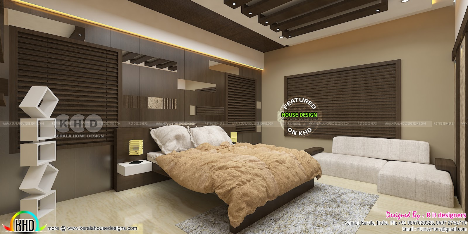 Beautiful modern bedroom interior designs kerala home for Beautiful bedroom interior