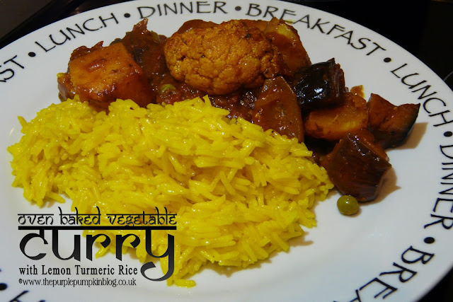 Oven Baked Vegetable Curry with Lemon Turmeric Rice