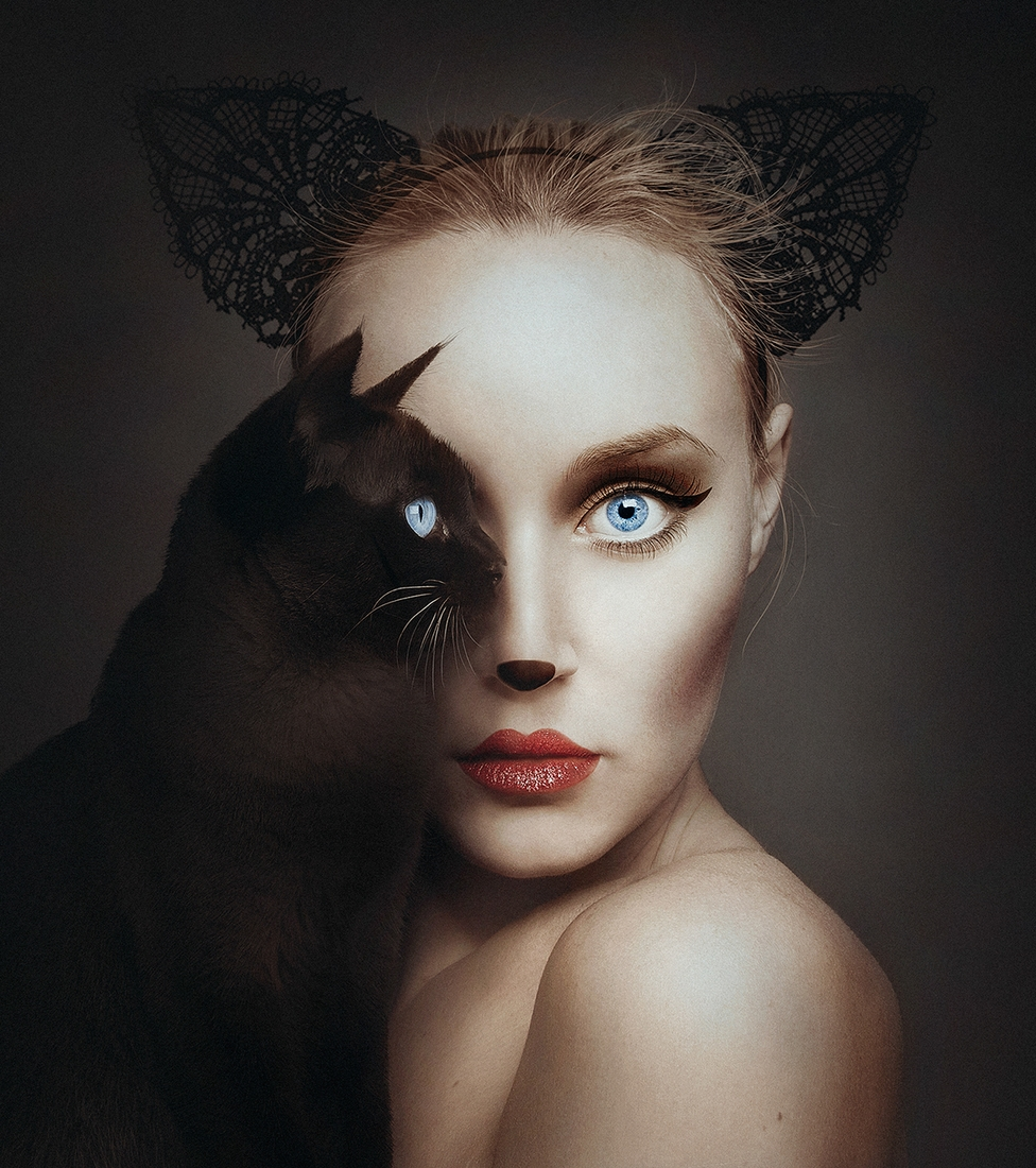 01-Black-Cat-Flora-Borsi-Animeyed-Self-Portraits-Surreal-Photographs-www-designstack-co