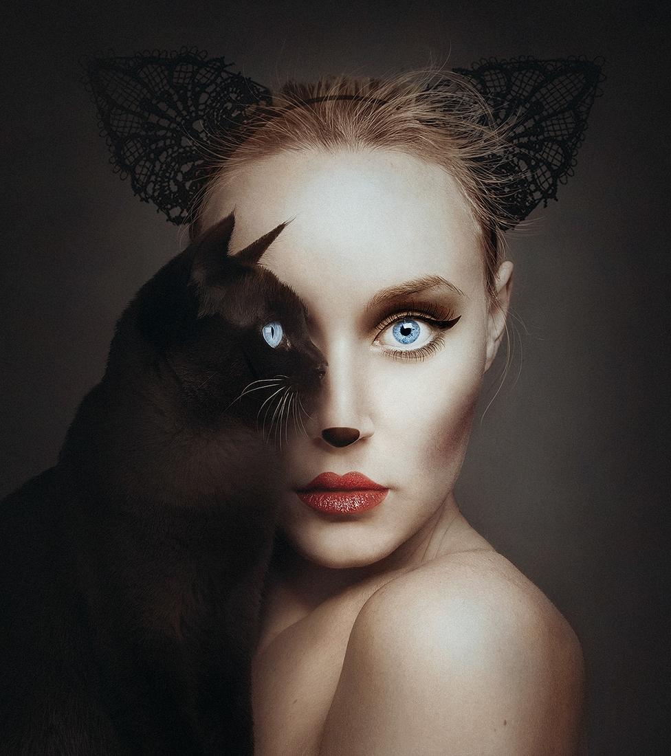 01-Black-Cat-Flora-Borsi-Animeyed-Self-Portraits-Surreal-Photographs-www-designstack-co